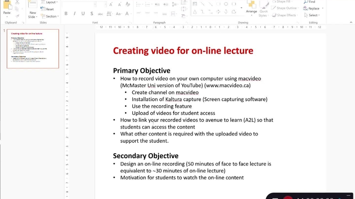 Thumbnail for channel Instructions to Record and Upload Course Content Online