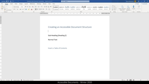 Thumbnail for entry 01 Accessible Word Documents - Document Info and Structure.mp4