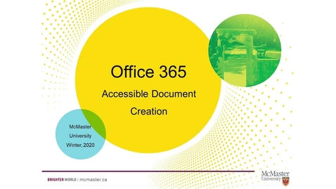 Thumbnail for entry An Introduction to Accessible Document Creation