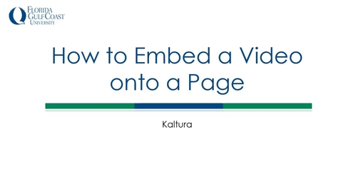 Thumbnail for entry How to Embed a Video onto a Page