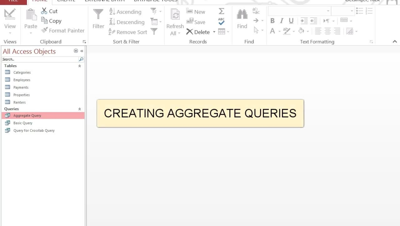 Creating Aggregate Queries