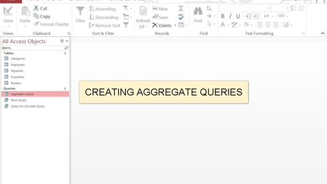 Thumbnail for entry Creating Aggregate Queries
