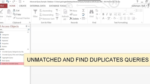 Thumbnail for entry Unmatched and Duplicate Queries