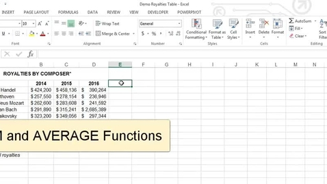 Thumbnail for entry SUM and AVERAGE Functions in Excel