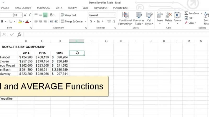 SUM and AVERAGE Functions in Excel