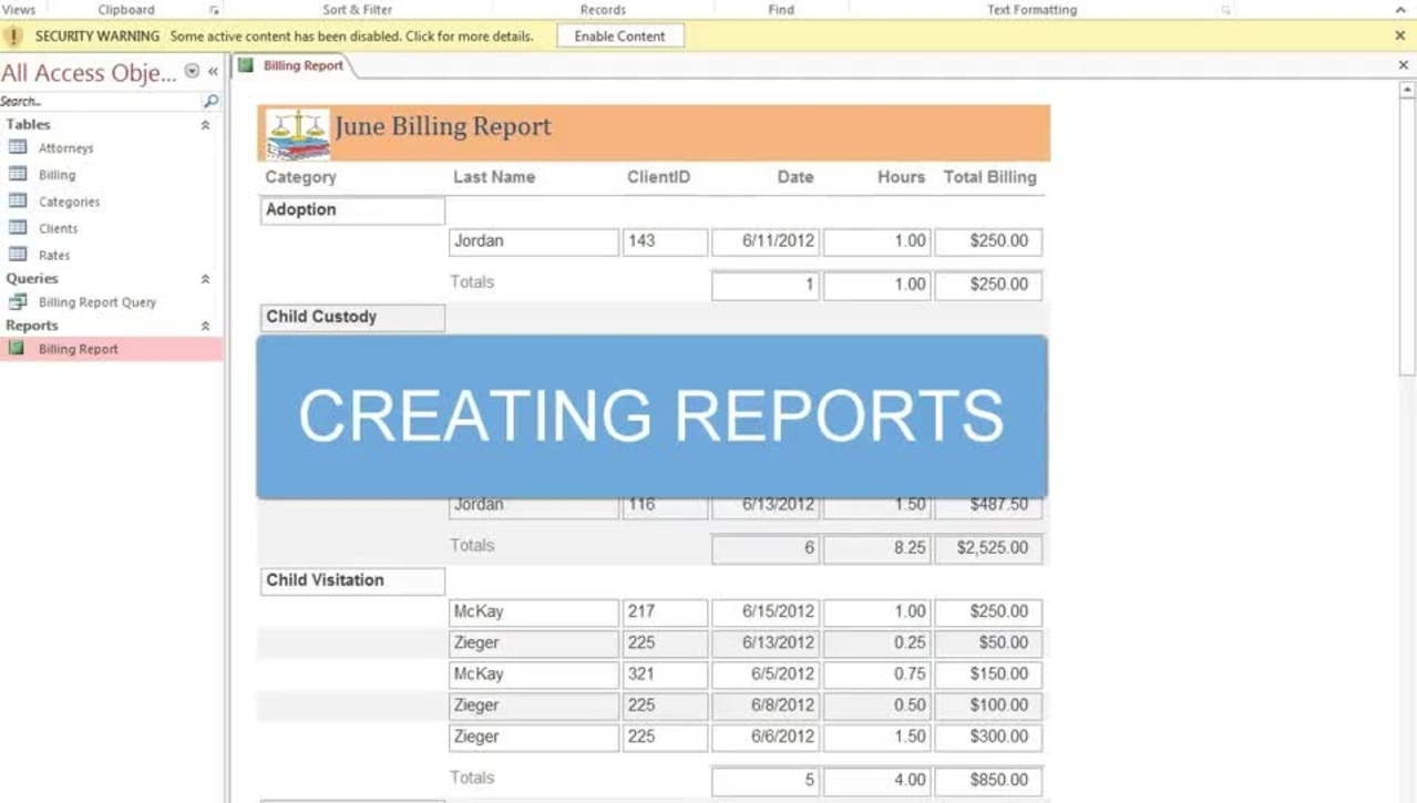 Creating Reports in Access