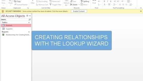 Thumbnail for entry Creating Relationships with the Lookup Wizard