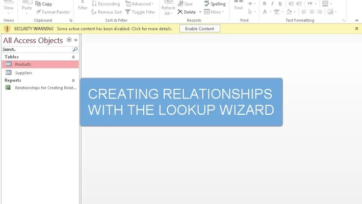 Creating Relationships with the Lookup Wizard