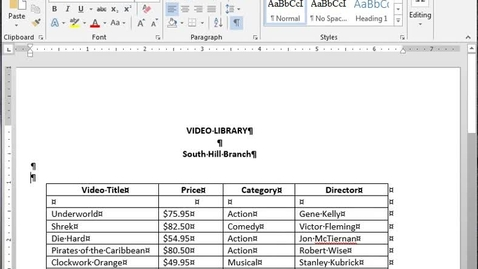 Thumbnail for entry Format a Table