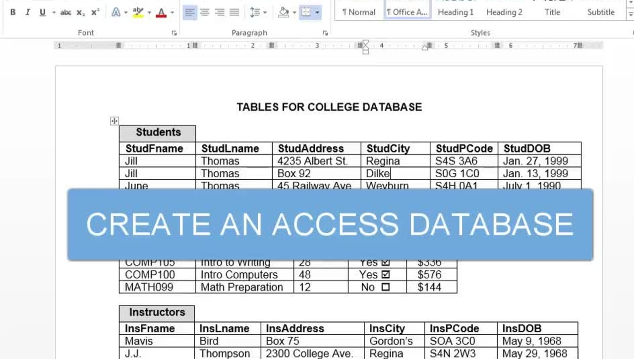 Create an Access Database