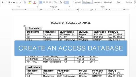 Thumbnail for entry Create an Access Database