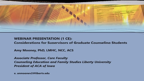 Thumbnail for entry Webinar (1 CE) Considerations for Supervisors