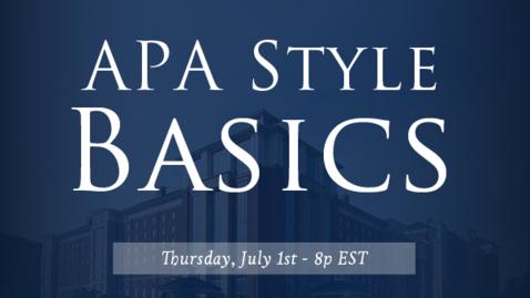 Thumbnail for entry APA Style Basics: 7th Edition