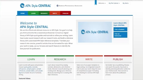 Thumbnail for entry APA Style Central Database