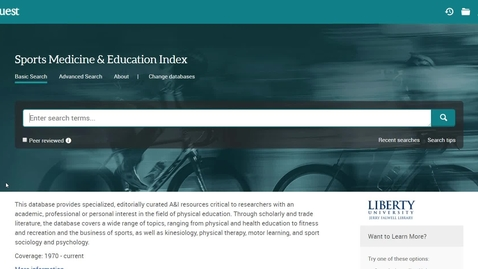 Thumbnail for entry How to Use the Sports Medicine & Education Index