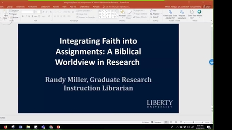 Thumbnail for entry Integrating Faith into Assignments A Biblical Worldview in Research