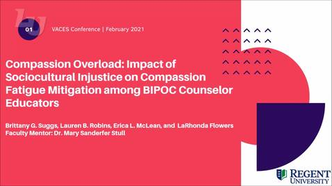Thumbnail for entry Compassion Overload: Impact of Sociocultural Injustice on Compassion Fatigue Mitigation among BIPOC Counselor Educators (#2)