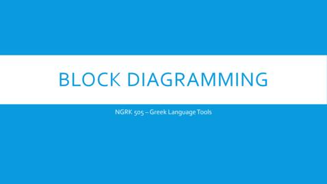 Thumbnail for entry Block Diagramming Part 1 - video 1