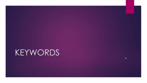 Thumbnail for entry How To Use Keywords