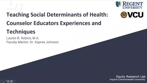 Thumbnail for entry Teaching SDOH: Counselor Educators Experiences and Techniques (#1)