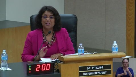 Thumbnail for entry Superintendent Dr. Stefanie Phillips Remarks, Aug. 23, 2017 Board Meeting
