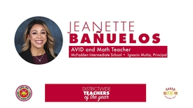 Thumbnail for entry Intermediate Educator of the Year 2018 Jeanette Bañuelos, (Intermediate, SAUSD)