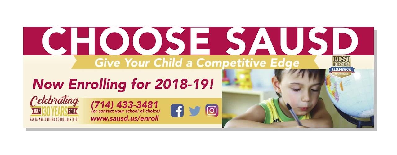 Enrollment is Open for SAUSD Schools - 2018-19