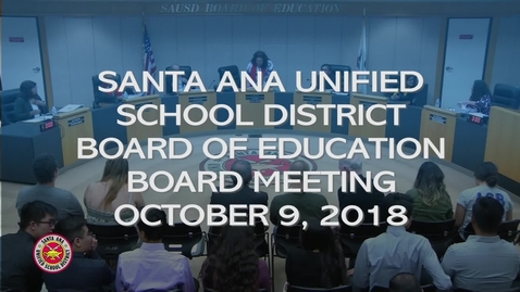 Thumbnail for entry SAUSD Board Meeting October 9, 2018