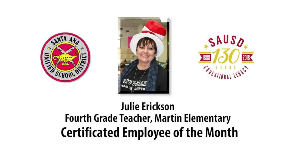 Mrs Julie Erickson Martin Elementary Certificated Employee Of The