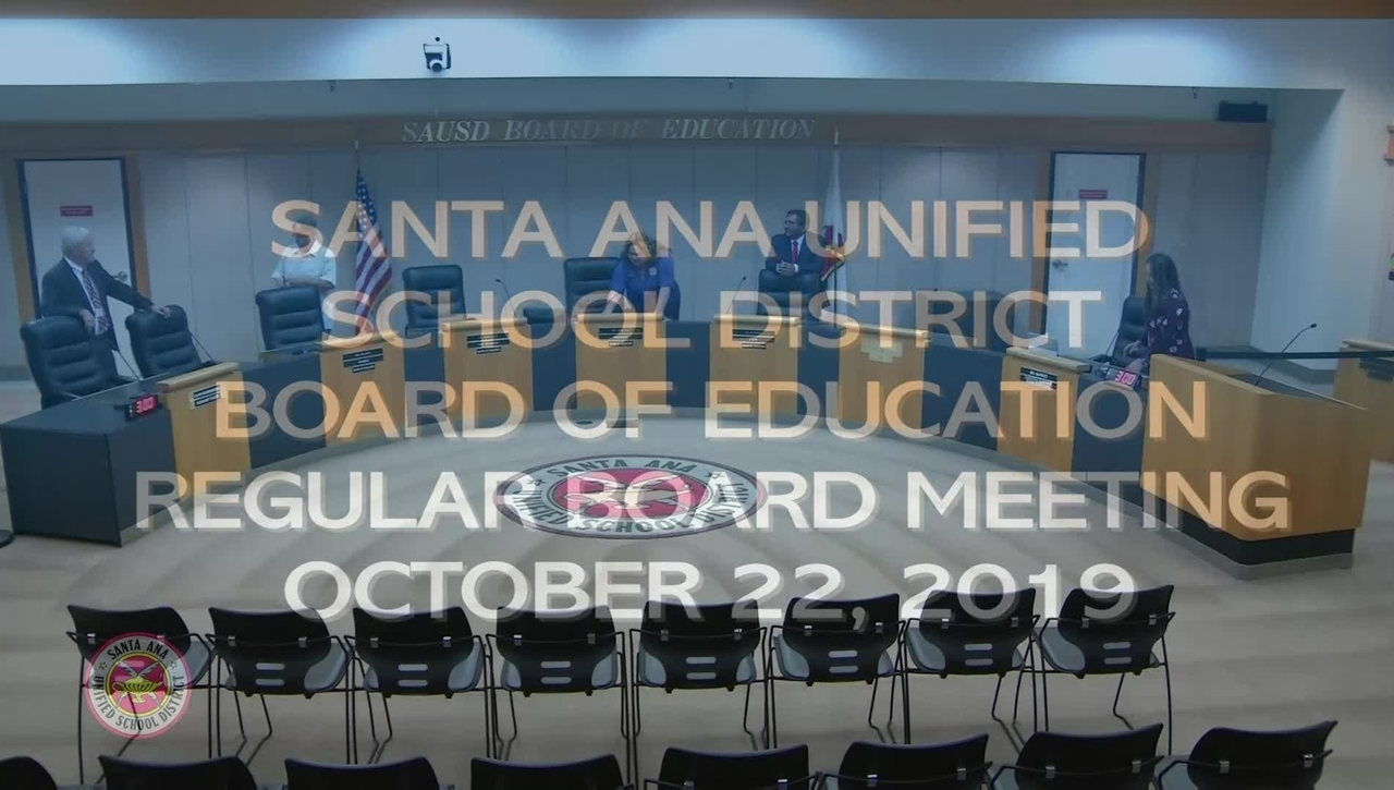SAUSD Board Meeting October 22, 2019