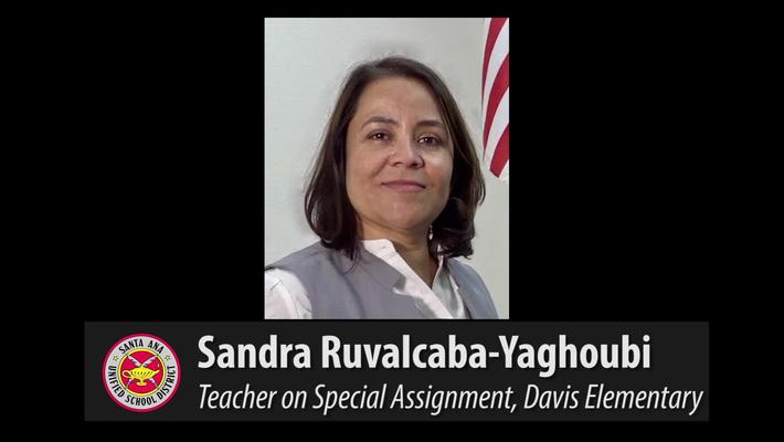 Sandra Yaghoubi - Certificated Employee of the Month, October 2017 for SAUSD