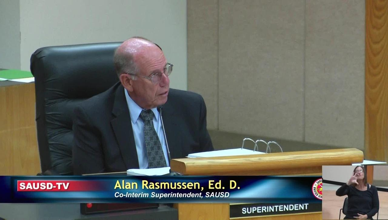 Superintendent Report to SAUSD School Board, August 13, 2019