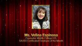 Thumbnail for entry Velina Espinoza, SAUSD Certificated Employee of the Month