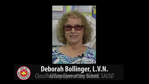 Deborah Bollinger, LVN - Classified Employee of the Month, October for SAUSD
