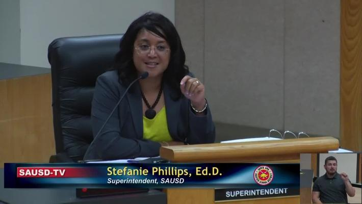 Superintendent Stefanie Phillips, Ed.D. Report to SAUSD School Board, April 23, 2019