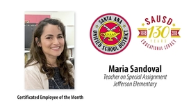 Thumbnail for entry Maria Sandoval, TOSA at Jefferson Elementary School SAUSD Certificated Employee of the Month