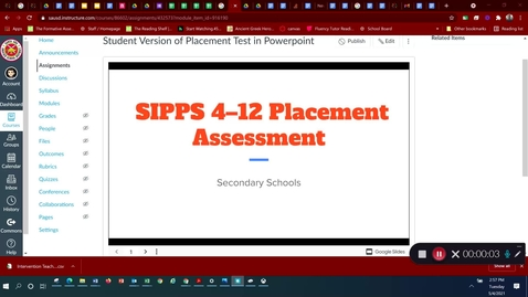 Thumbnail for entry Google Slides Version of the SIPPS Diagnostic Placement Test