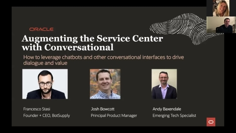 Thumbnail for entry CX Service Webinar: Augmenting the Service Center with Conversational with guest speaker Francesco Stasi, Founder & CEO, BotSupply