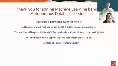 Thumbnail for entry Machine Learning behind Autonomous Database