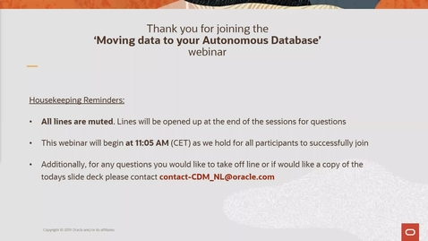 Thumbnail for entry Moving data to your Autonomous Database - Cloud Digital Classroom delivered on 15 JAN 2020