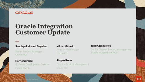 Thumbnail for entry Oracle Integration Customer Webcast February 2021