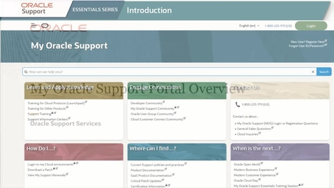 Thumbnail for entry My Oracle Support Portal Overview