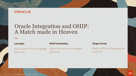Thumbnail for entry Oracle Integration Cloud and OHIP A Match Made in Heaven - Partner Community Webcast March 30th 2021