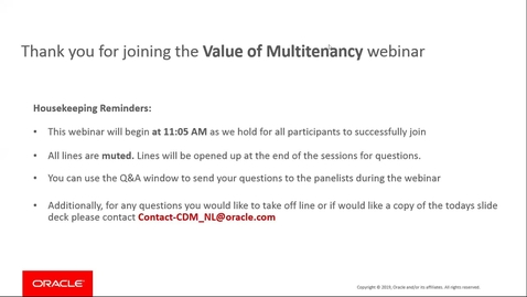 """Thumbnail for entry Cloud Digital Classrooms - Recorded Session """"The value of Multitenancy"""""""
