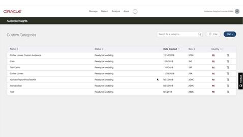 Thumbnail for entry Oracle Data Cloud - KEYWORD CUSTOM AUDIENCES (Video 3) - Creating a Keyword Custom Audience