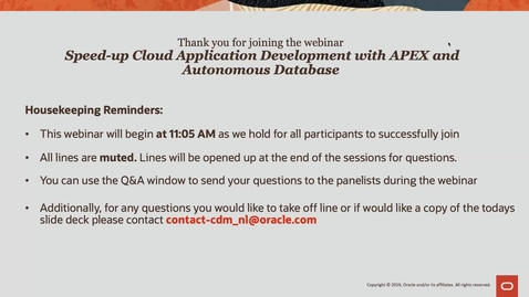 """Thumbnail for entry Cloud Digital Classroom - Recorded Session """"Speed-up Cloud Application Development with APEX and Autonomous Database"""""""