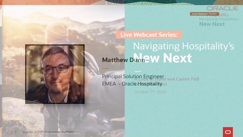 Thumbnail for entry Navigating Hospitality's New Next | A Look at Hotel and Casino F&B | EMEA Webcast |  October 7, 2020 | 14:00 CET/ 1 PM UK