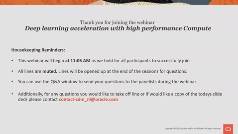 Thumbnail for entry Deep learning acceleration with High Performance Compute - Cloud Digital Classroom recorded 13th Nov 2019