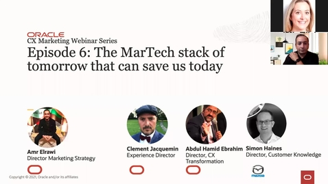 Thumbnail for entry Oracle CX Webinar: The MarTech stack of tomorrow that can save us today with guest speaker Simon Haines, Director of Customer Knowledge at Mazda Europe
