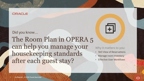 Thumbnail for entry Did You Know? The Room Plan in OPERA 5 Can Help You Manage Your Housekeeping Standards After Each Stay